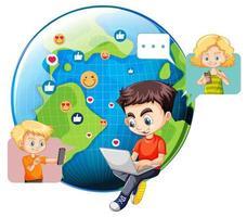 Kinder mit Social-Media-Elementen auf der Erde Globus