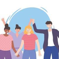 glückliche Frauen und Männer geben Einheit