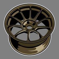 guld färg bil hjul ritning vektor