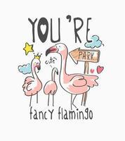 Flamingofamilie mit Schriftzug und Ikonen