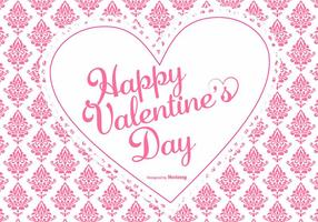 Netter rosa Damast-Valentinstag Hintergrund vektor