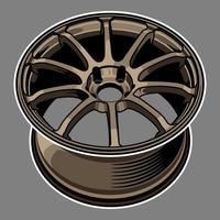 bronsfärg bilhjul ritning vektor