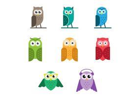Fri uppsättning av gulliga Owls Vector