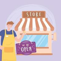 Ladengeschäft Außenwerbetafel und Mitarbeiter mit Schürze