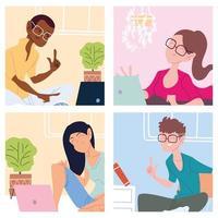 Kartensatz mit Menschen, die von zu Hause aus arbeiten