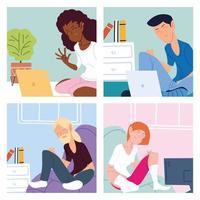 uppsättning kort med människor som arbetar hemifrån