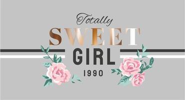 goldener Schriftzug des süßen Mädchens mit rosa Blumen vektor