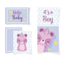 baby shower hej baby boy card firande set