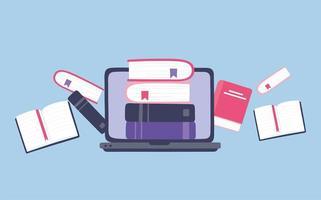Onlinetraining. Laptop und Bücher Bildung vektor