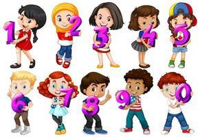 uppsättning olika barn som håller nummer 0-10 vektor