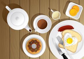 Tekanna och Breakfast Vector scen