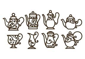 Wirbler Dekorative Teekanne Vektoren