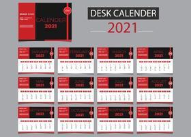 2021 Kalender rot, schwarz und weiß Vorlagensatz vektor