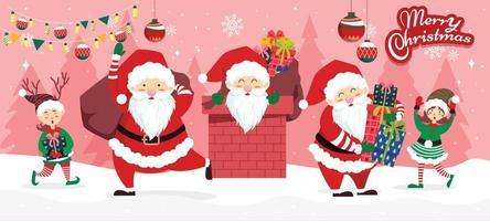 Santa mit den entzückenden Helfern vektor