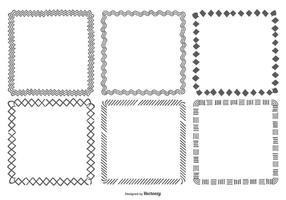 Hand Drawn Square ramar Collection vektor