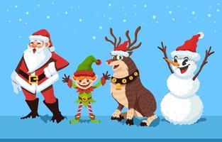 Santa und sein Helfer Charakter Design vektor