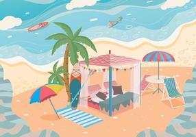 Private Cabana Beach Vector