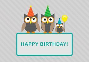 Owlfamilj födelsedag mall vektor
