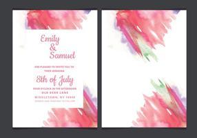Vektor bröllopinbjudan med vattenfärg accenter
