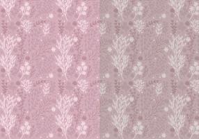 Zwei-Vektor-Muster von Hand gezeichnete Blumenelemente