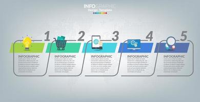 Infografik-Vorlage mit Symbolen und 5 Elementen oder Schritten.