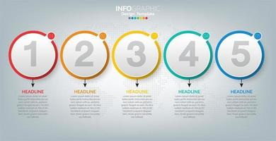 infografisk mall med ikoner och 5 element eller steg. vektor