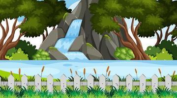 Landschaftsgestaltung mit Wasserfall im Park vektor