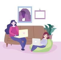 unga kvinnor med sina bärbara datorer inomhus