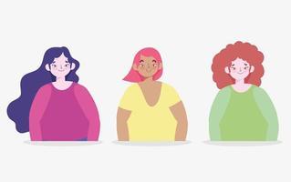 unga kvinnors karaktärsuppsättning