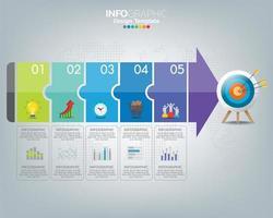 mål med element och text, infografisk mall.