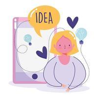 kreativitet och teknologikoncept med kvinna och ikoner vektor