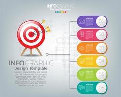 mål med ikoner och text, infografisk mall.