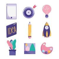 kreativitet och teknik koncept ikonuppsättning vektor