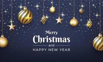 god jul med glittrande guldprydnader vektor