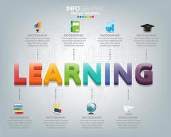 modernt infografiskt koncept med word learning vektor