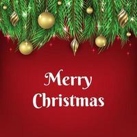jul bakgrund med gyllene boll ornament vektor