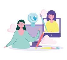 Online-Bildungskonzept mit Lehrer und Schüler vektor