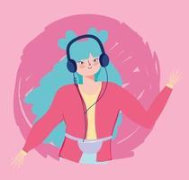 hype tjej lyssnar på musik vektor