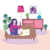 junge Frau auf dem Laptop zu Hause vektor