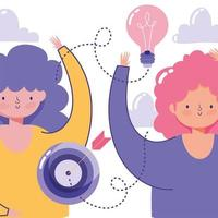 kreativitet och teknik koncept med kvinnor och ikoner vektor