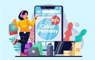 Cyber Montag Online-Shopping auf dem Smartphone