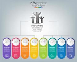 Timeline-Infografik-Vorlage mit Symbolen im Erfolgskonzept vektor