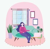 ung kvinna på den bärbara datorn hemma vektor