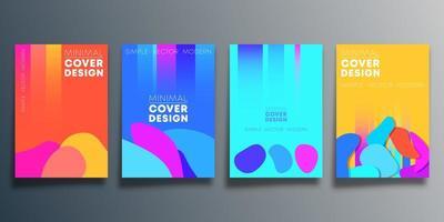 uppsättning abstrakta affischdesigner med blobformer vektor