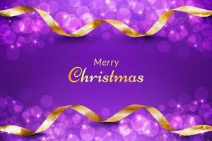 lila julbakgrund med guldband vektor