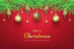 Weihnachtshintergrund mit goldenen Verzierungen vektor