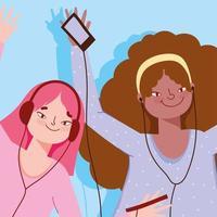 hype tjejer lyssnar på musik vektor