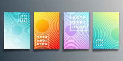 uppsättning färgglada radiella designöverdrag vektor