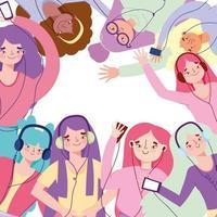 Hype Girls hören Musik vektor