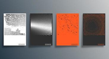 minimal halvton affisch designuppsättning vektor